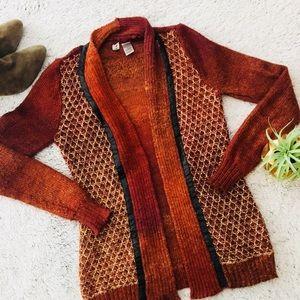 BKE Rust Cardigan Sweater